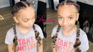 How To: 2 Braids With Curly Ends | Kids Braids|