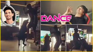Sushant Singh Rajput Amazing Dance Moves With His Dog Fudge In House