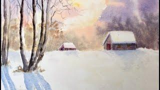 Снежная Зима Акварелью. Snow and Winter in watercolour