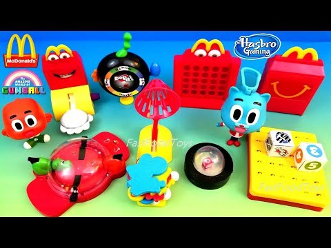 2018 McDONALD'S HASBRO GAMING HAPPY MEAL TOYS THE AMAZING WORLD OF GUMBALL FULL SET 8 KIDS UNBOX USA