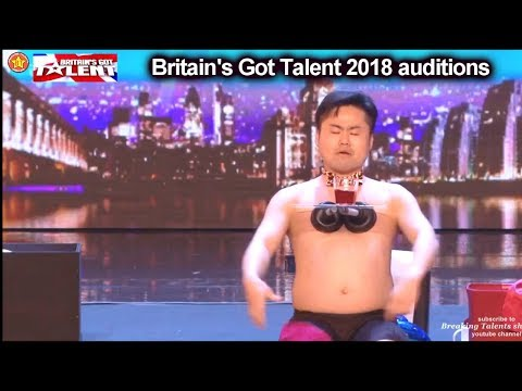 MR Uekusa Stripped ALMOST NAKED  Auditions Britain's Got Talent 2018 S12E01 (видео)