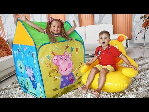 Diana Pretend Play with Playhouse Tent Toy (видео)