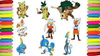 Raboot  - (Pokémon) - Coloring All GEN 8 Pokemon Initials - Pokemon Shield and Sword