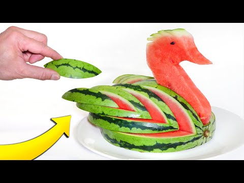 How to Cut a Watermelon Into a Lovely Swan