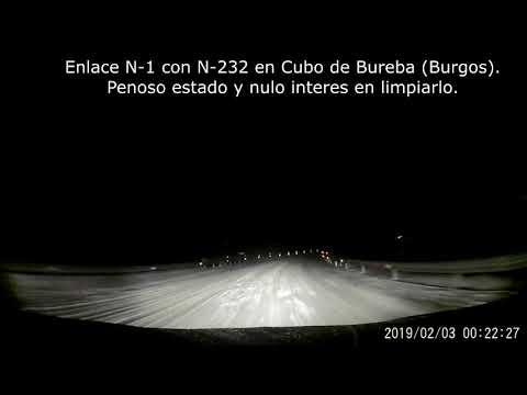 Penoso estado N1 y N232 en Cubo de Bureba (Burgos) tras la nevada