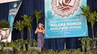 "Auli'i Cravalho performing ""How Far I'll Go"" at the Hokulea's homecoming"