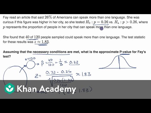 Calculating a P-value given a z statistic (video) | Khan Academy