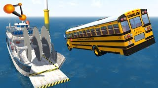 BeamNG.drive - Giant Saw Against Cars Crashes #4