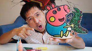 100% Tô Màu Kim Tuyến Peppa Pig – Đồ Chơi Trẻ Em Tranh Gỗ Tô Màu