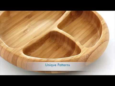 طبق طعام مقسم للاطفال من خشب البامبو الطبيعي وقاعدة سيليكون لمنع الانزلاق بالوان متعددة | Avanchy