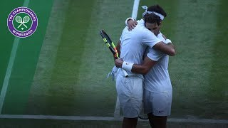Rafa Nadal and Juan Martin Del Potro hug after Wimbledon classic
