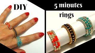 How To Make Rings. Beaded Rings Tutorial. DIY 5 Minutes Rings