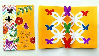 Pop up card easy viveos butterfly pop up card very easy multipurpose greeting card ideapop up card making m4hsunfo