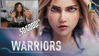 Pokimane Reacts To Warriors | Season 2020 Cinematic - League of Legends (ft. 2WEI and Edda Hayes)