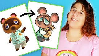 """Animator Draws Tom Nook From """"Animal Crossing"""" In 3 Different Mediums thumbnail"""