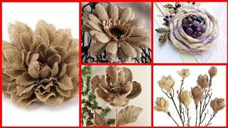 40+ Amazing Burlap Fabric Flowers || Burlap Flowers  For Home Decor ||  Diy Burlap Flowers