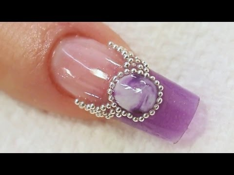 Purple Jewel Acrylic Nail Art Tutorial Video by Naio Nails