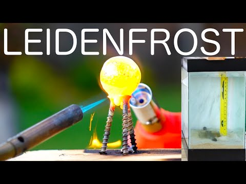 Do hot objects fall through water faster? Leidenfrost Effect!
