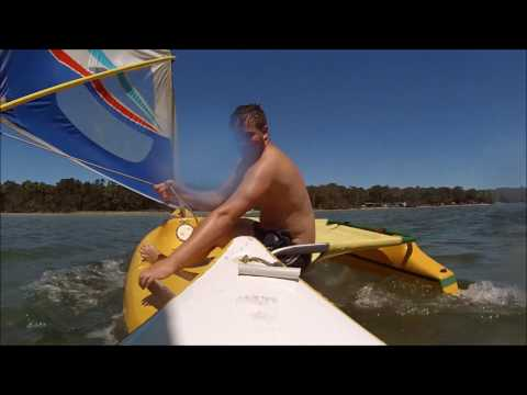sailing boat outrigger Islanda, sail, kayak windsurf all in one day.