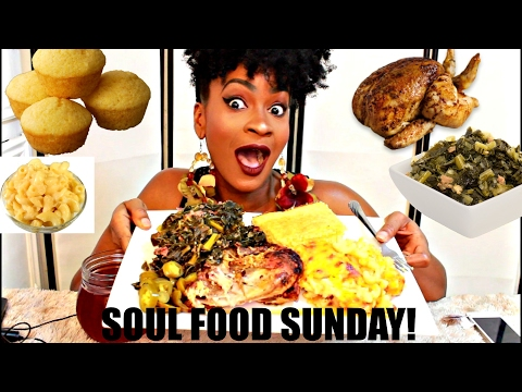 MUKBANG: ROASTED CHICKEN, BAKED MAC & CHEESE, COLLARD GREENS & CORNBREAD!
