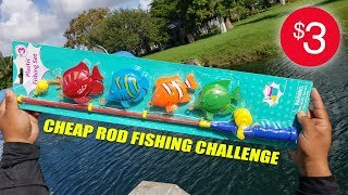 $3 Toy Fishing Rod Challenge And Review!
