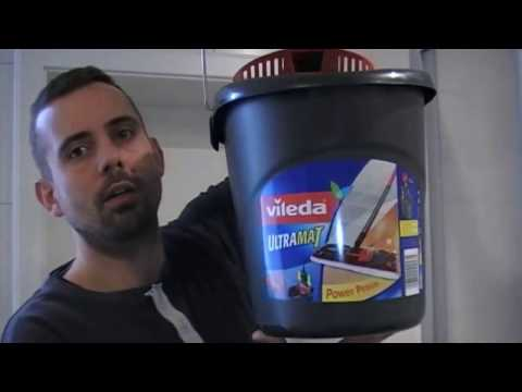 Vileda UltraMat Komplett-Set, Bodenwischer und Eimer mit PowerPresse