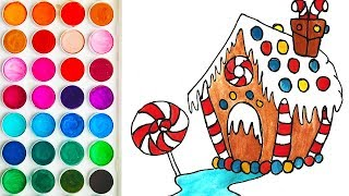 Drawings for Kid with House of Caramel and Cookies, Coloring Page for Kids