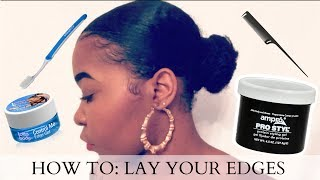 How To: Lay Your Edges/Baby Hair | Quick & Easy! | Short/Thick Natural Hair | Kinzey Rae