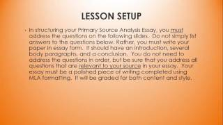 Primary Source Analysis Introduction