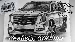 Realistic car drawing Cadillac Escalade 2016