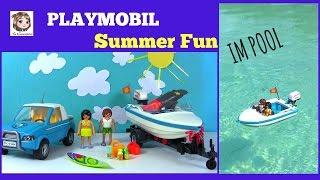 Mit dem MOTORBOOT IN DEN POOL ☼ Playmobil Summer Fun Surfer-Pickup mit Speedboat | 6864 Unboxing