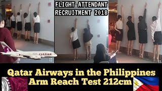 QATAR AIRWAYS OPEN DAY Arm Reach 212cm for Cabin Crew / Flight Attendant Applicants (Philippines)