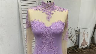 Custom Made Lilac Beaded Lace Long Prom Dress With Illusion Bodice & Fitted & Flare Train