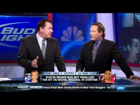 Mike Milbury vs. Jeremy Roenick over Dustin Brown hit (PUCK DADDY)