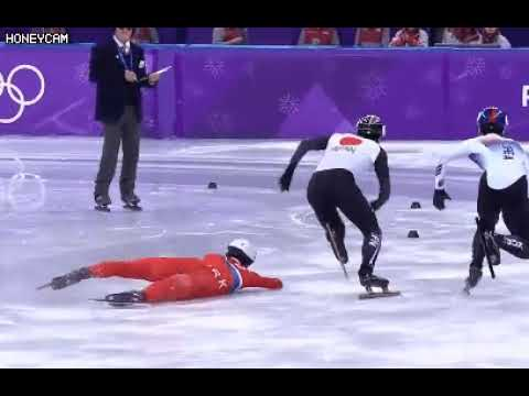 North Korean speed skater tries to trip Japanese opponent