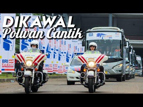 Dikawal Polisi | Pemberangkatan Bus Eagle High Mudik Gratis Bank BRI