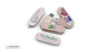 Clé USB publicitaire bois recyclable et clip rotatif