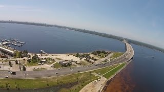 Quadcopter Near Hathaway Bridge in Panama City, Florida