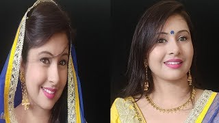 Makeup With Yellow And Blue Dress | Daytime Makeup Tutorial For Indian Functions|kaurtips ♥️