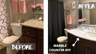 DECORATING MY APARTMENT | BATHROOM REVAMP UNDER $80 | DIY MARBLE COUNTERTOP