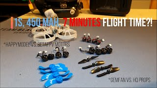 1S 450 mah, 7 minutes flight time!? Motor and prop comparison | Square One FPV