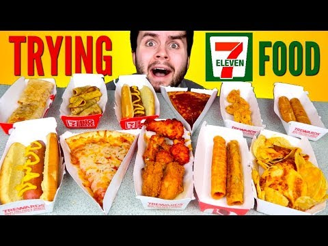 TRYING 7-ELEVEN HOT FOOD! – Taquitos, Spicy Wings, Pizza, & MORE Taste Test!