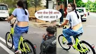 Sara Ali Khan Bindaas Cycling On Road CUTELY Talking To Media In Mumbai