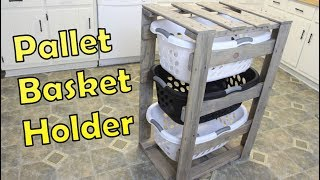 DIY Laundry Basket Holder  Organizer - Pallet Projects