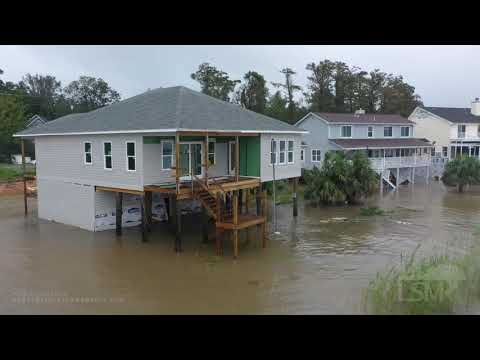 9-16-2020 Pensacola, Fl Hurricane Sally huge storm surge impacts homes, drone