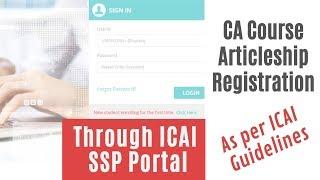 CA Articleship Registration Process through ICAI SSP Portal as per ICAI Guidelines