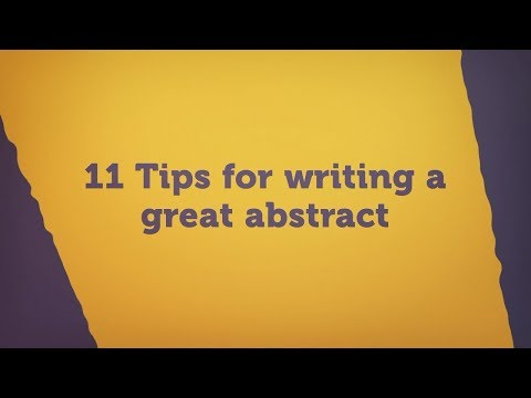 Tips for Writing a Great Abstract