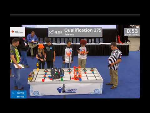 Team 80516E 2018 Worlds Qualification match 275 – Beth & Parker