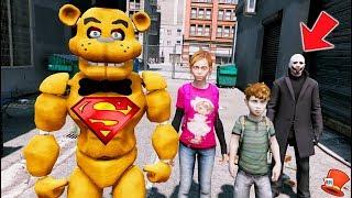 SUPERHERO BUFF FREDDY SAVES THE KIDS! (GTA 5 Mods FNAF RedHatter)