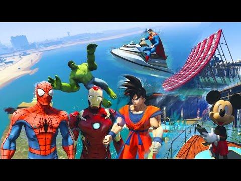 Hình ảnh Youtube -  SUPERHEROES Water Jumping Challenge on Jet Ski w Batman, Spiderman, Hulk. Funny Kids Video